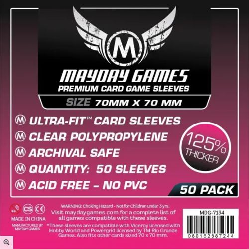 Mayday Premium 50 Clear Square Card Sleeves 70 x 70mm