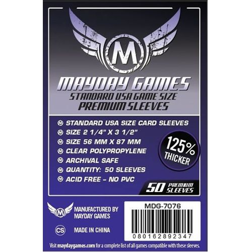 Mayday Premium 50 Clear Standard American Card Sleeves 56 x 87mm