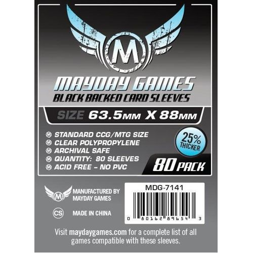 Mayday Premium 80 Black Card Sleeves 63.5 x 88mm