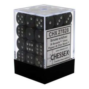 12mm d6 Dice Block: Borealis Smoke/silver