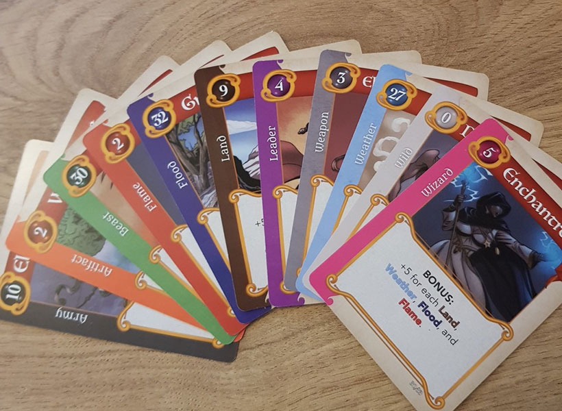 Fantasy Realms Review - Colour-coded Cards
