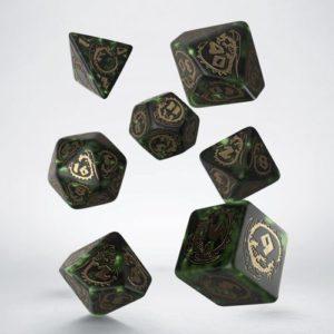 Q-Workshop Dragon Green & Gold Dice Set
