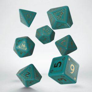 Q-Workshop RuneQuest: Turquoise & Gold Dice Set