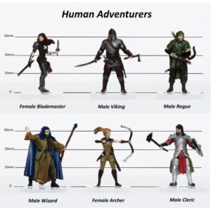 Human Adventurers Party of 6 - Set A - 28mm Pre-painted Plastic Miniatures