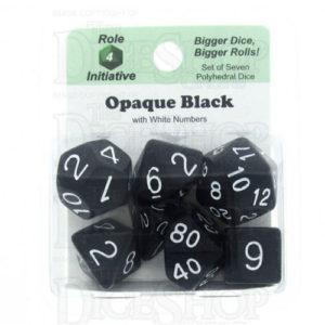 Opaque Black/White Poly 7 Set Dice