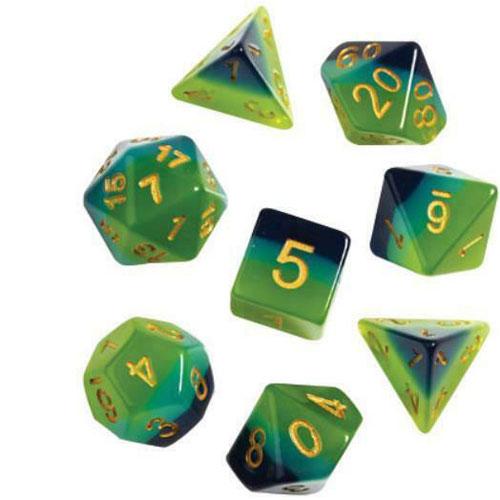 Green & Blue Translucent Polyhedral Dice Set