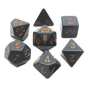 Solid Black & Gold Polyhedral Dice Set