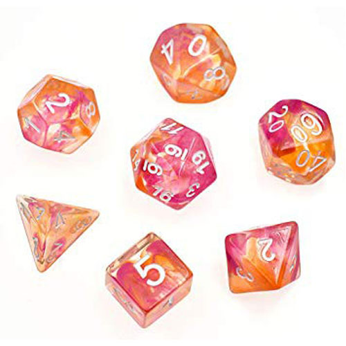 Yellow & Red Translucent Polyhedral Dice Set