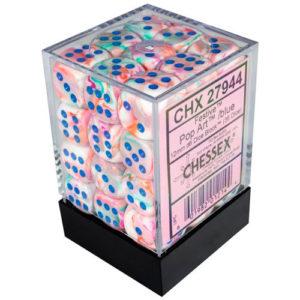 12mm d6 Dice Block: Festive Pop Art w/blue