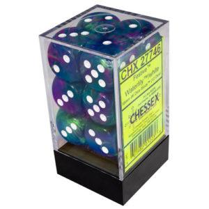 16mm d6 Dice Block: Festive™ Waterlily™ w/white