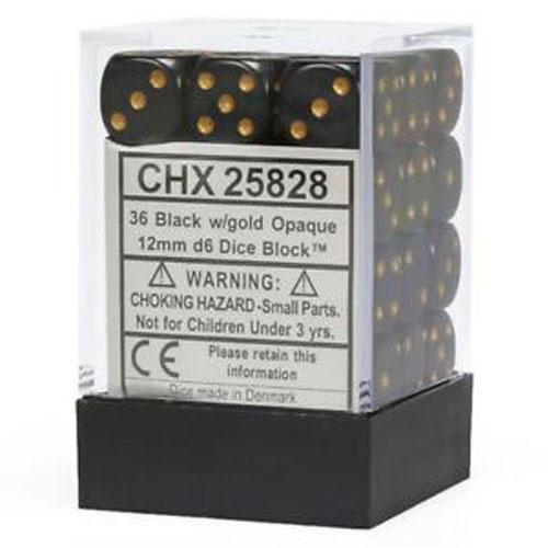 Black/Gold Opaque D6 Set of 36 (12mm)