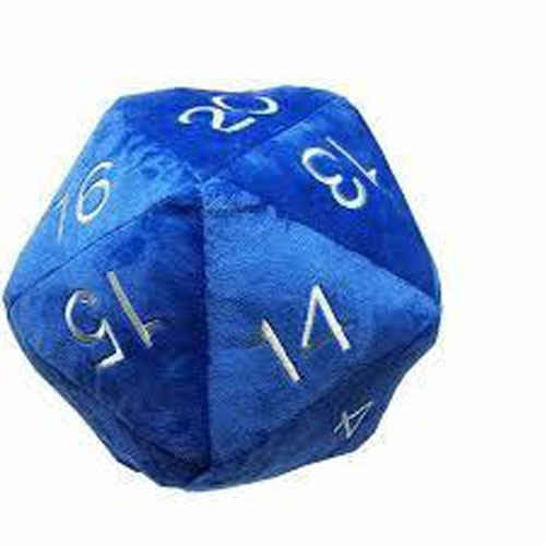 Jumbo D20 Novelty Dice Plush in Blue with Silver Numbering