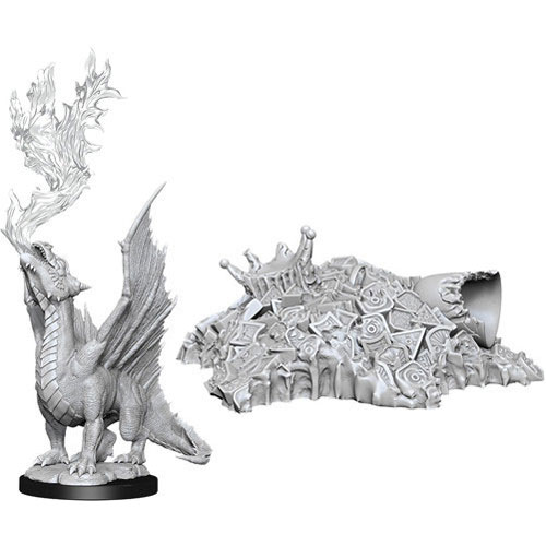 D&D Nolzur's Marvelous Unpainted Miniatures (W11): Gold Dragon Wyrmling & Treasure Pile Pack of 6