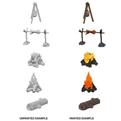 WizKids Deep Cuts Unpainted Miniatures (W10) - Camp Fire & Sitting Log
