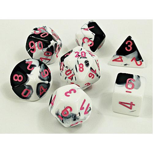 Chessex Lab Dice Wave 4: Gemini Black-White/Pink Luminary Poly 7 Set