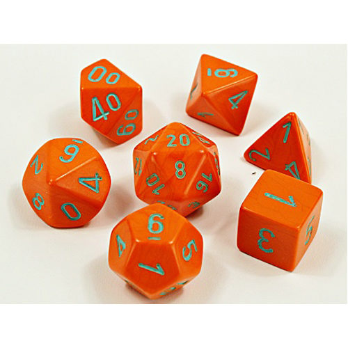 Chessex Lab Dice Wave 4: Heavy Orange/Turquoise Polyhedral 7 Set