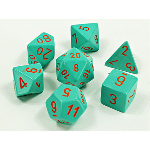 Chessex Lab Dice Wave 4: Heavy Turquoise/Orange Polyhedral 7 Set