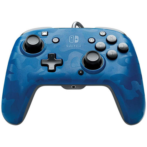 Faceoff Deluxe+ Audio Wired Nintendo Switch Controller - Blue Camo