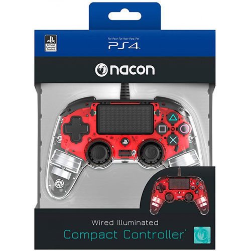 Nacon Commpact Wired Illuminated PS4 Controller - Red
