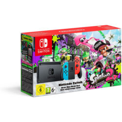 Nintendo Switch Splatoon 2 Bundle with Neon Red and Blue Joy-Con Controller