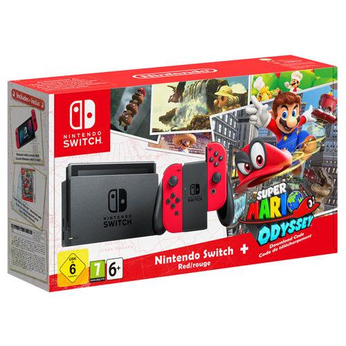 Nintendo Switch Super Mario Odyssey Bundle with Red Joy-Con Controller