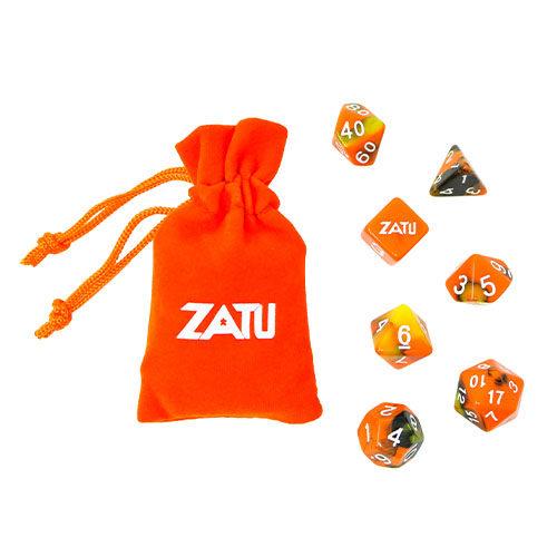 Zatu Polyhedral 7 Dice Set and Dice Bag
