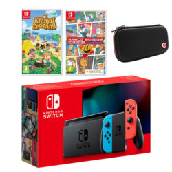 Nintendo Switch Neon Bundle with Animal Crossing: New Horizons, Namco Archives Volume 1 and Case