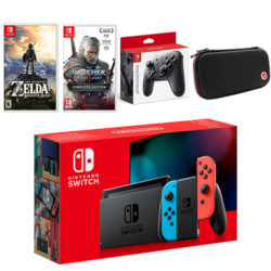 Nintendo Switch Neon Bundle with Breath of the Wild, The Witcher 3, Pro Controller and Case