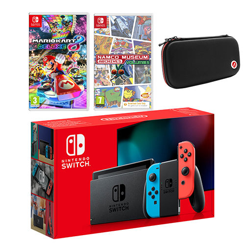 Nintendo Switch Neon Bundle with Mario Kart 8 Deluxe, Namco Archives Volume 2 and Case