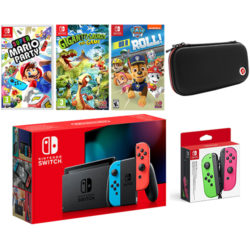 Nintendo Switch Neon Bundle with Super Mario Party, Gigantosaurus, Paw Patrol, Green and Pink Joy-Con and Case