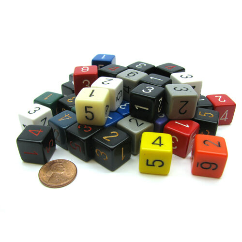 Bag of 50 Assorted Polyhedral Opaque D6 dice