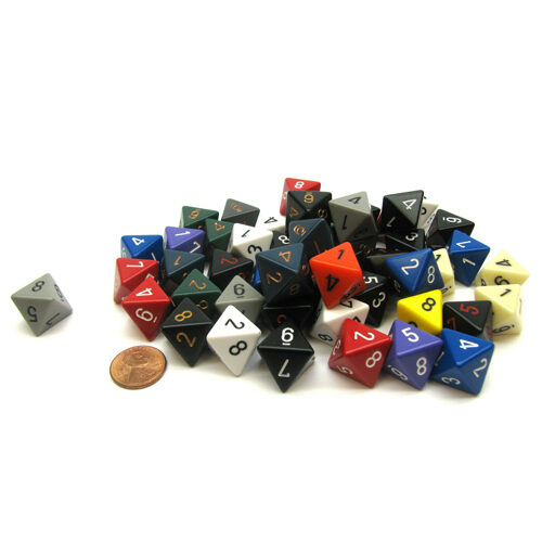Bag of 50 Assorted Polyhedral Opaque D8 dice