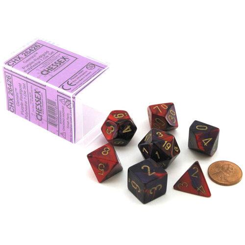 Gemini Polyhedral Dice 7 Set: Purple-red/gold