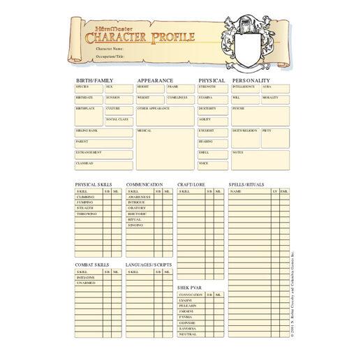 Harnmaster Character Sheets