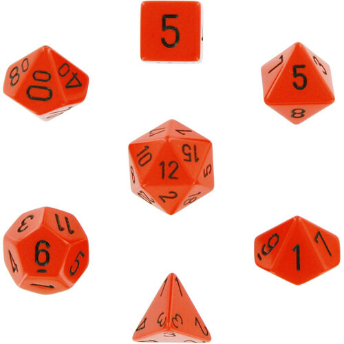 Opaque Polyhedral Dice 7 Set: Orange/black