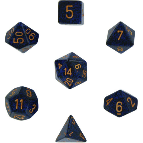 Speckled Polyhedral Dice 7 Set: Golden Cobalt