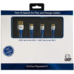 IMP (4m) Braided Fast Charge & Play Cable TWIN Pack - PS5