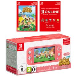 Nintendo Switch Lite Coral Bundle with Animal Crossing: New Horizons and 3 Month Nintendo Switch Online Membership