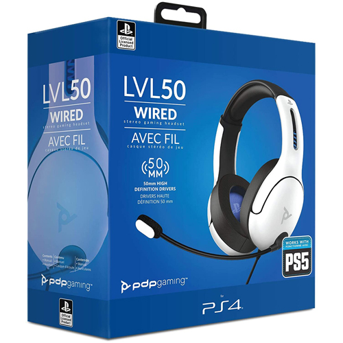 PDP LVL50 Wired Stereo Gaming Headset White - PS4/PS5