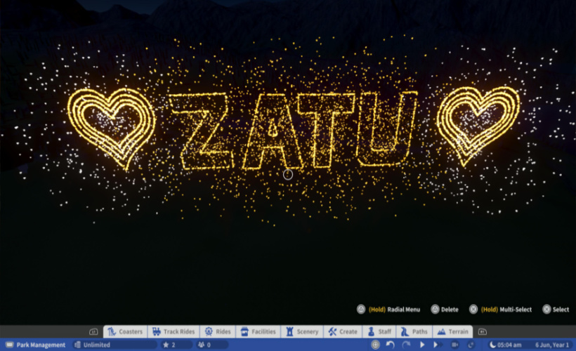 planet coaster Zatu firework display