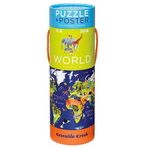 Crocodile Creek Poster & Puzzle: World