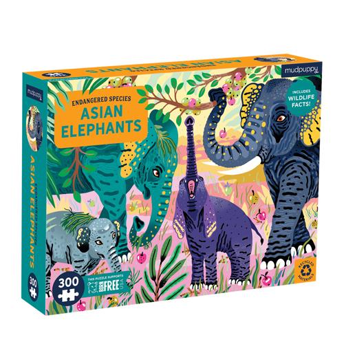 Mudpuppy 300 pieces Endangered Species Puzzle: Asian Elephants