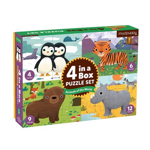 Mudpuppy 4 in a Box: Animals of the World