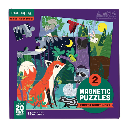 Mudpuppy Magnetic Fun Puzzle: Forest Night & Day