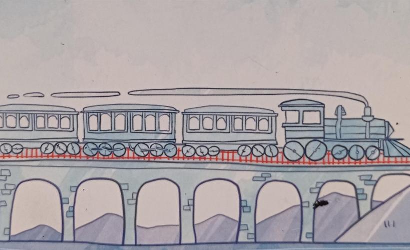 railroad ink train drawing
