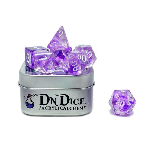 DnDice Acrylic Alchemy: Amethyst AEther Dice Set