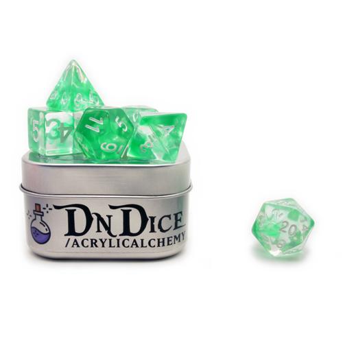 DnDice Acrylic Alchemy: Emerald AEther Dice Set