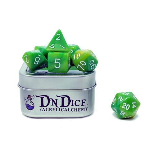 DnDice Acrylic Alchemy: Gobbo Snot Dice Set