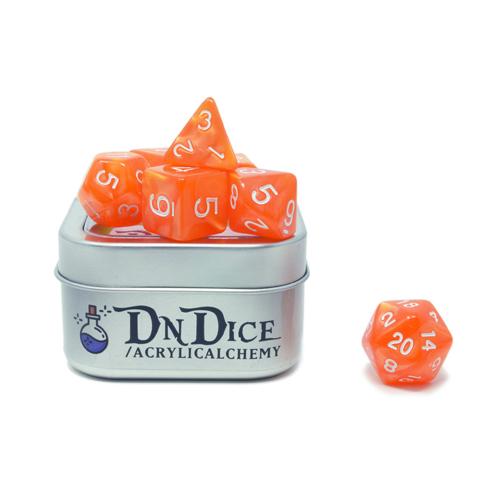 DnDice Acrylic Alchemy: Orange Delight Dice Set